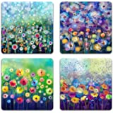 Beautiful Watercolor Flowers Square Coaster Set - Made of Recycled Rubber - Set of 4