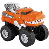 Powerful Dinosaur Monster Truck with Chomping, Roaring T-Rex - Battery Powered Dinosaur Car Lights Up with Revving Engine Sou