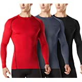 TSLA Men's (Pack of 1, 3) Cool Dry Fit Long Sleeve Compression Shirts, Athletic Workout Shirt, Active Sports Base Layer T-Shi