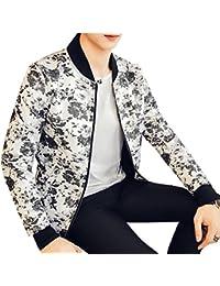 Sodossny-JP メンズのfashionalの長い袖のついた春の花のジッパーの薄いジャケットコート