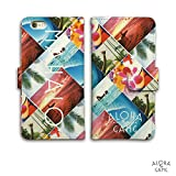 iPhone6 6S 手帳型 ケース カバー カードポケット iPhone ヤシの木 アロハ ハイビスカス コラージュ 手帳型 ケース