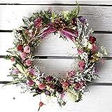 春色リース ミディアム(ドライフラワー)/お花の壁飾り フラワーギフト ピンク系