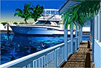 鈴木英人 版画 「碧き運河」