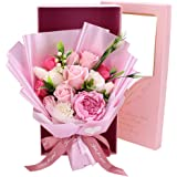 ソープフラワー 花束ギフト バラ カーネーション シャクヤク フラワー 誕生日プレゼント 結婚記念日 女性 人気プレゼント 母の日 先生の日 敬老の日 造花 カード付き ボックス入り ピンク