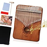 カリンバ 21キー 親指ピアノ アフリカ楽器 ナチュラル C 調 音調調節可能 初心者 日本語説明書付き (太陽) …