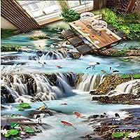 Xueshao 流れる水滝フェアリーランドの夢ロータスサーモンクレーン3Dフローリング大壁画フローリングステッカー-200X140Cm