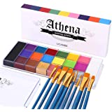 UCANBE Face Body Paint Set - Athena Painting Palette, 10 Professional Artist Brushes - Large Deep Pan,Ideal for Halloween Cos
