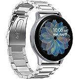 VICARA for Galaxy Watch Active2 44mm/Galaxy Watch Active2 40mm バンド ステンレス製 時計バンド 20mm 交換用 for ギャラクシー ウォッチ Active 2 44mm ビジネス風 調整工具付き(シルバー)
