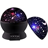 Night Light for Kids, DCAUT Rotating Moon Stars Projector Night Lamp with Colour Change, Novel Bedside Lamp for Baby Children