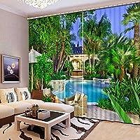 Sproud 高品質の 3 次元リアルな風景のカーテン寝室のカーテンを印刷様々な美しいリビングルームプリントカーテン 260 Dropx 380 幅( cm ) 2 枚