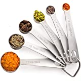 Noosa Life | Measuring Spoons | Heavy Duty Stainless Steel | Set of 6 | Dry and Liquid Ingredients | Durable and Dishwasher S