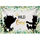 Funnytree 7x5ft Soft Fabric Wild One 1st Birthday Party Backdrop No Wrinkles Durable Animals Themed Photography Background Ju