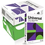Universal 100% Recycled Office Copy Paper A4 500 sheets, Carton of 5 Packs, White, (105121)