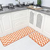 "Carvapet 2 Pieces Microfiber Chevron Non-Slip Soft Kitchen Mat Bath Rug Doormat Runner Carpet Set, 17""X48""+17""X24"", Orange"