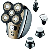 Electric Shaver for Men & Grooming Kit, Geecol 5 Head Rotary Shavers Cordless USB Rechargeable 4d Electric Razor 5 in 1 Nose