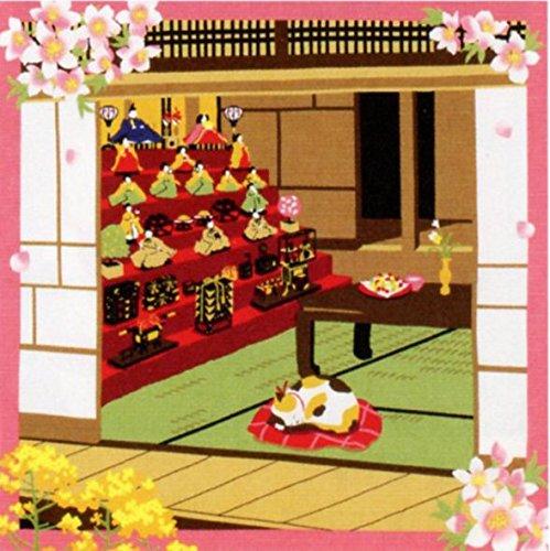 RoomClip商品情報 - 三毛猫みけの夢日記 小ふろしき 中巾 風呂敷 (みけとお雛様(39-2))
