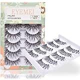 False Eyelashes 5 Pairs Multipack Synthetic Fiber Material 3D Lashes Natural Reusable Lashes for Professional Used for Women