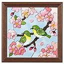 さくらほりきり 手作りキット きめこみ 桜と夫婦メジロ 額付 内寸8インチ