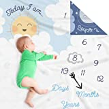 Double Sided Monthly Baby Milestone Blanket- Month Blanket for Baby Pictures | Photo Blanket with Baby Photo Props | Monthly