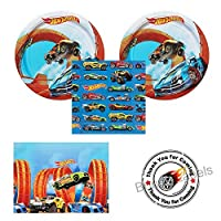 Hot Wheels Wild Racer party supplies - 16 guests - cake plates napkins tablecover plus bonus labels [並行輸入品]
