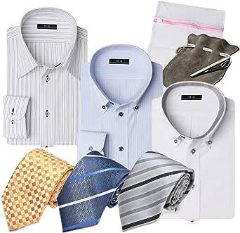 [アトリエサンロクゴ] 【福袋】 8点セット ワイシャツ ネクタイ タイピン 洗濯ネット イージーケア 形態安定 長袖Yシャツ メンズ at-luckyb-sh3ne3t1