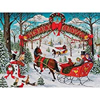 Bits and Pieces - 300 Piece Jigsaw Puzzle for Adults - Merry Grove - 300 pc Christmas Winter Holiday Jigsaw by Artist Joseph Holodook