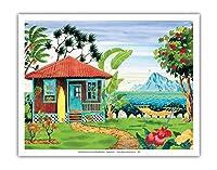 海の家 - ハワイ - ハワイ諸島 - トロピカルパラダイス - オリジナルの水彩画からのもの によって作成された ロビン アルトマン - アートポスター - 28cm x 36cm