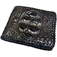財布 メンズ ワニ革 二つ折り財布 コブ付き クロコダイル縁編み ショートサイズ 背ワニ