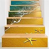 Yanqiao 階段用のステッカー ヒトデと砂浜 立体的で光煌かす壁紙 カッコイイ欧米スタイル 高品質 おしゃれ 特別 防水または防潮 18*100cm