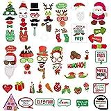 75ピース クリスマス写真ブース小道具 DIYキット ドレスアップ装飾 新年記念パーティー用品