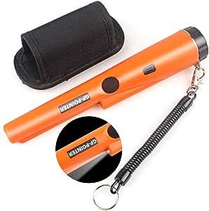 ハンディ金属探知機 ゴールド検出器 宝探し 持ち物検査 セキュリティ LEDライト付き 高感度 軽量 防水 レジャー用品 (オレンジ)