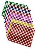 シール 丸 カラーラベル 丸型ステッカー 8㎜ 8㎝ 8色 2688片 アソート ステッカー 手帳シール かわいい カレンダー まとめ買い Royal Green
