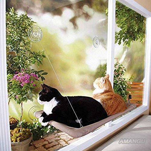 【AMANGU】 猫ハンモック ペットベッド キャット用 吸盤タイプ 取り付け簡単 日光に浴びて 窓台  おやすみ 猫へのプレゼント 素材(PVC、ポリエステル) 耐荷重(約20kg程度) 寸法(約 55cm x 35cm)