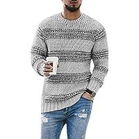 [エスアンドワイ] 4カラー メンズ セーター ニット 長袖 ボーダー柄 トップス シンプル 防寒 冬 S~XL