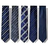 (ピエールタラモン) Pierre Talamon メンズ ビジネス ジャガード織 ネクタイ 5本セット 8cm ネクタイ ストライプ ドット 小紋 柄 02