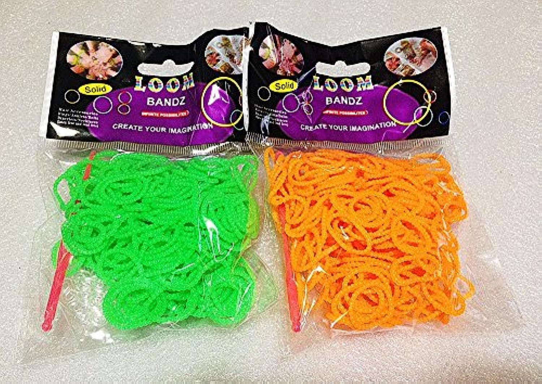 [Artasy ™][並行輸入品] DIY 凹凸カラーゴムバンドブレスレット (グリーン + オレンジ) Loom Bands refill Pack - (300 + 300 pcs) Unevenness rubber ring Color: green + orange