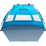 OutdoorMaster Pop Up Beach Tent XL - Easy Setup, Portable 3-4 Person Tall Beach Shade Folding Sun Shelter with UPF 50+ UV Pro