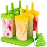 Ice Lolly Moulds, ESSIA Popsicle Molds Set, 6 Ice Lolly Makers for Kids, LFGB Certified BPA Free Ice Cream Mould with Non-Spi
