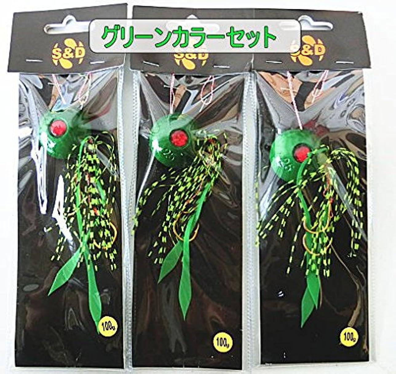 天才気づく嬉しいですタイラバ100g オールグリーン3個セット 鯛ラバセット タイラバセット