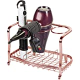 mDesign Metal Hair Care & Styling Tool Organizer Holder - 3 Sections - Bathroom Vanity Countertop Storage for Hair Dryer, Fla