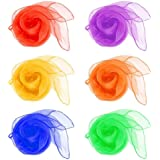 HENGSONG 60 x 60 cm Pack of 12 Belly Dance Juggling Scarves Sensory Toy for Baby/Toddler/Kids 6 Colors