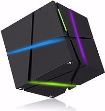 ELEGIANT Bluetoothスピーカー重低音 LEDライト搭載 HI-FI ポータブルミニ キューブ型スピーカー
