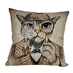 i-BOSOM 猫家族 クッションカバー 枕カバー ピローケース インテリア 45×45cm (探偵)