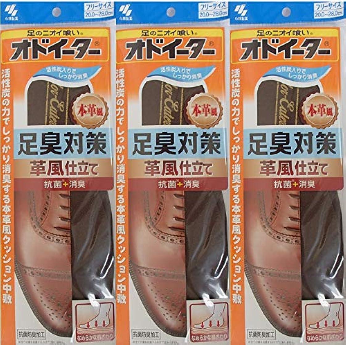 オリエンタル歯痛気付くオドイーター 足臭対策 革風仕立て インソール フリーサイズ20cm~28cm 3足セット