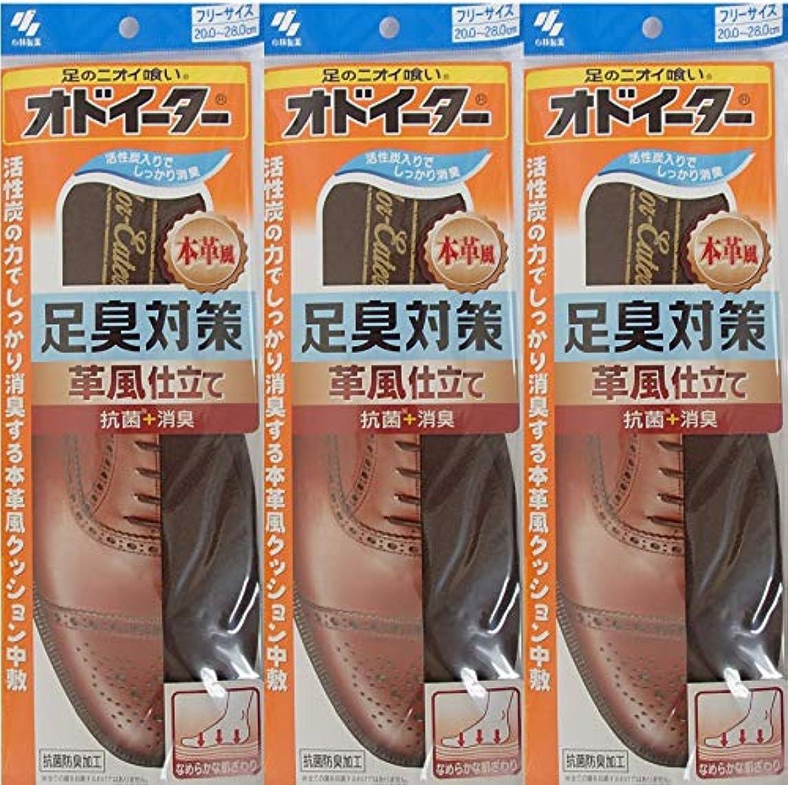 デジタルきしむ許さないオドイーター 足臭対策 革風仕立て インソール フリーサイズ20cm~28cm 3足セット