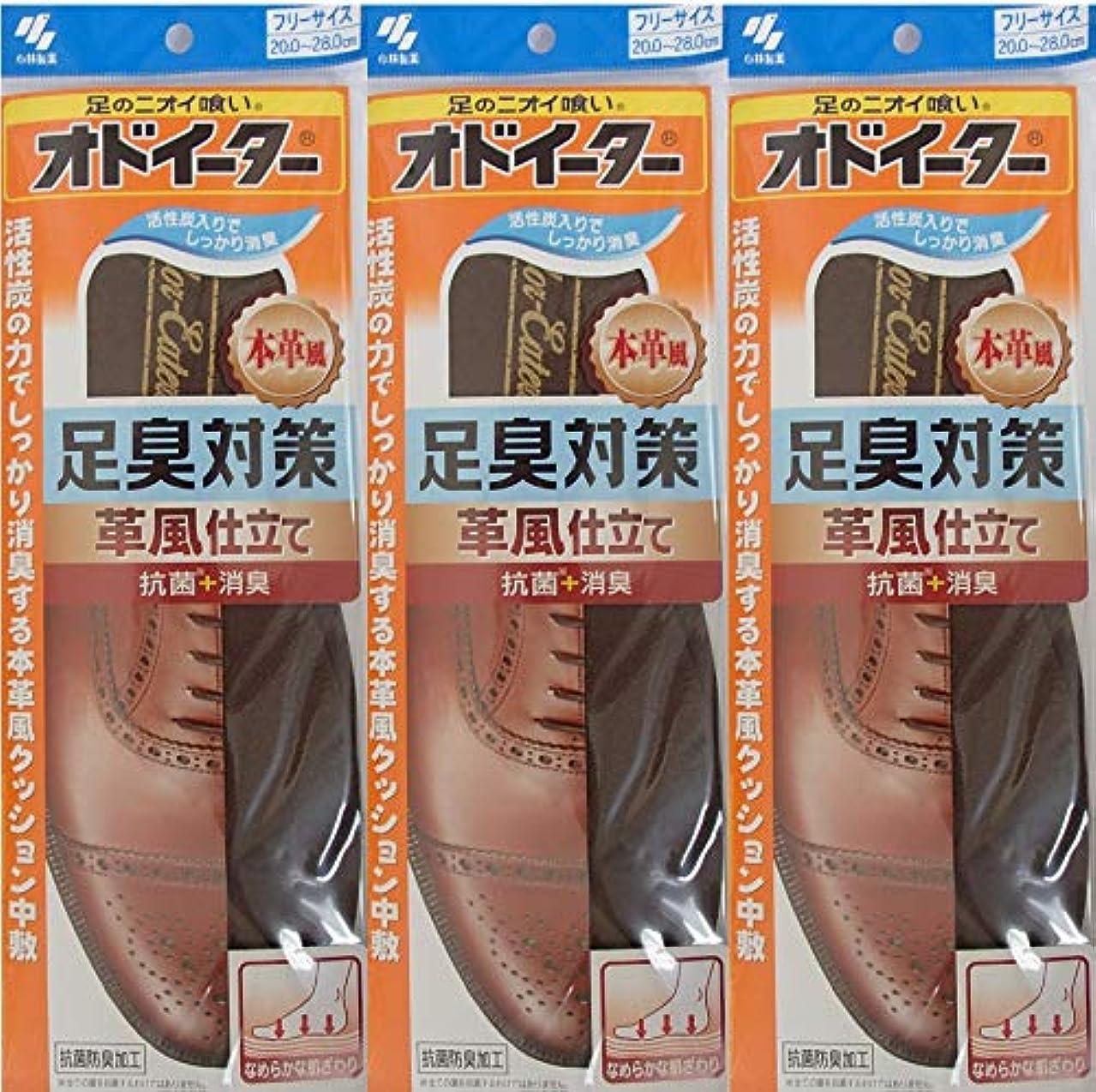 遵守する寛解あざオドイーター 足臭対策 革風仕立て インソール フリーサイズ20cm~28cm 3足セット
