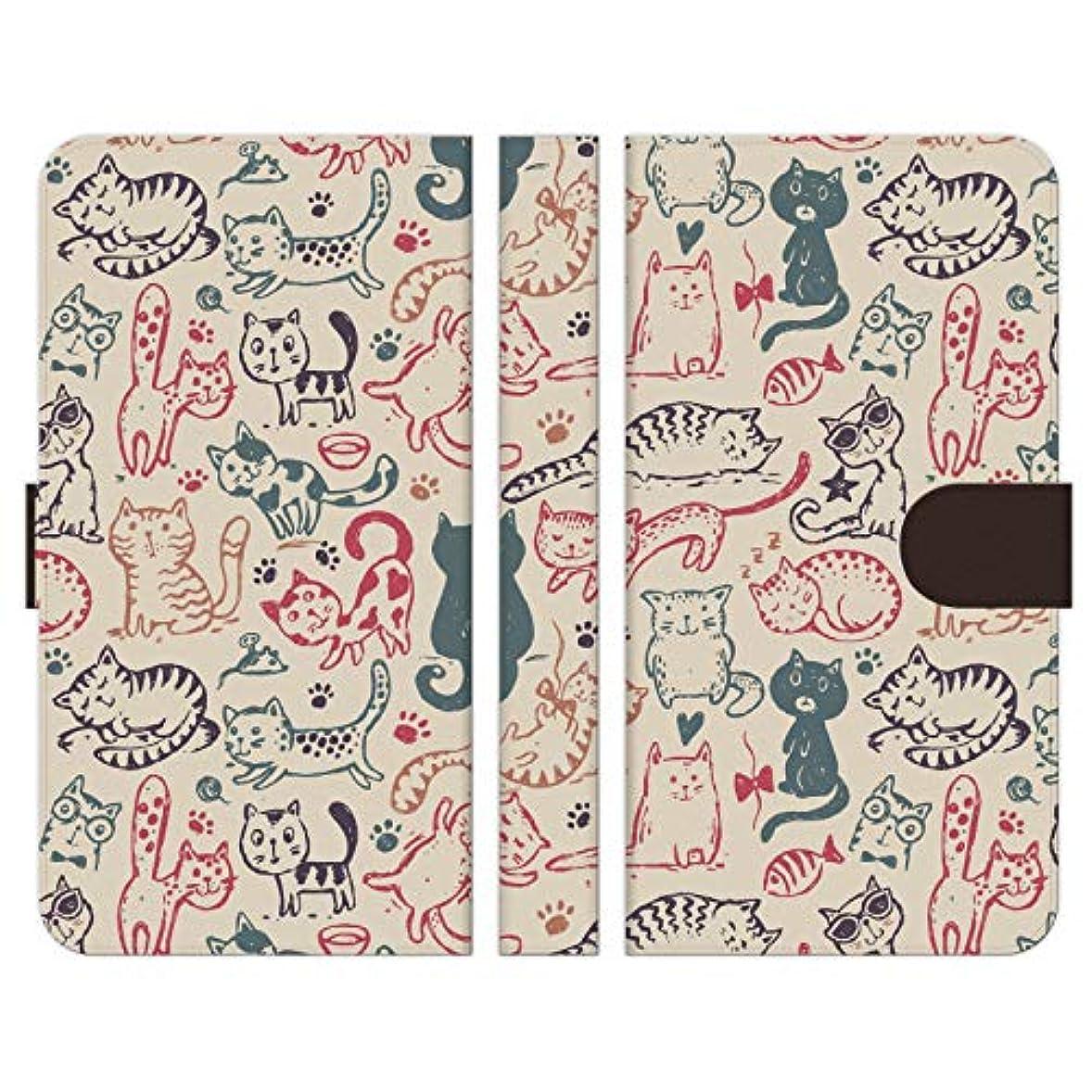 常識群がるクリーナーRuuu ZenFone 4 Max ZC520KL手帳型 スマートフォン スマホ ケース カバー 猫柄 おもしろ ネコ にゃんこ 猫 模様 パターン 面白い ほのぼの 落書き イラスト 足あと