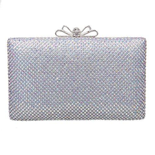 1dd4fad6bd840 (ファウジーヤ)Fawziya リボンつきバッグ かわいい 安い 結婚式 パーティバッグ クラッチバッグ 大きめ-ABシルバー