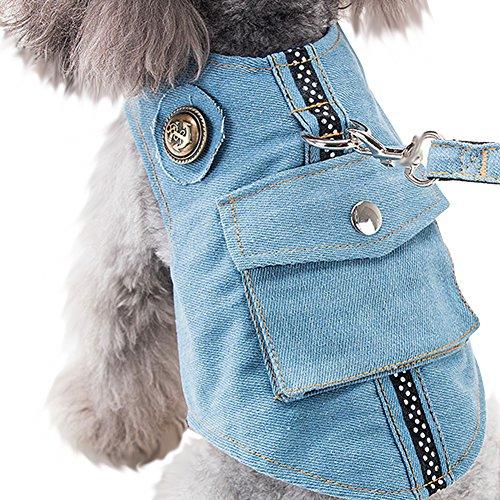 【Tona】犬ハーネス 猫ハーネス リード セット ペット用品 デニム 猫 小型犬 中型犬 服 牽引ロープ安全 調節可能 軽量 通気 簡単脱着式 ソフト お散歩 春 秋 星