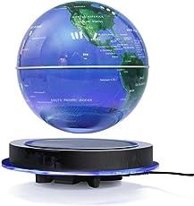 Yosoo 特大8 Inch 磁気浮上 地球儀 浮遊・回転型の地球儀 浮く地球儀 自動回転 LEDライト 空中浮遊 空中浮揚 世界地図 360度回転 球体点灯回転 電磁誘導 リニアモーターカー地球儀 英語表記 ベース付き 点灯 オフィス  飾り用品 世界地図 教学用 (ブルー(8inch))